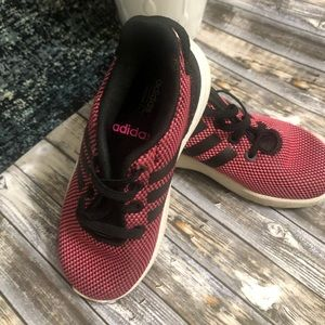 Pink and black adidas size 8 toddler girls
